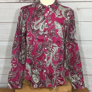 Talbots Stretch Cotton Sateen Paisley Button Down